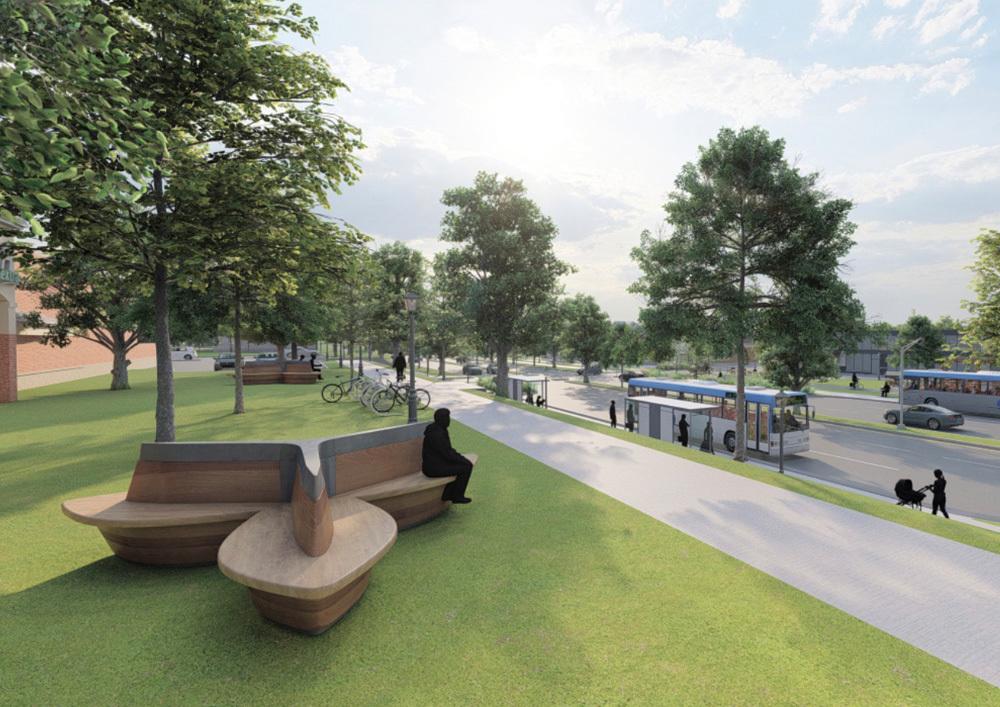 Le projet prévoit l'aménagement d'une aire d'embarquement pour le bus rapide menant au métro de Laval.